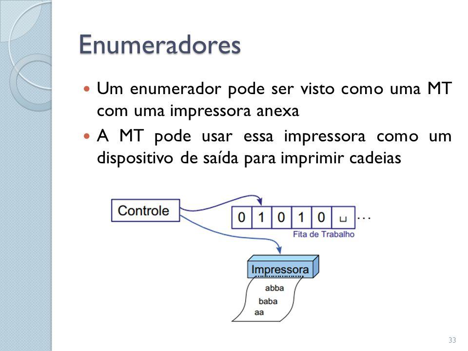 Enumeradores Um enumerador pode ser visto como uma MT com uma impressora anexa.