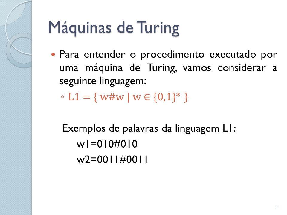 Máquinas de Turing Para entender o procedimento executado por uma máquina de Turing, vamos considerar a seguinte linguagem: