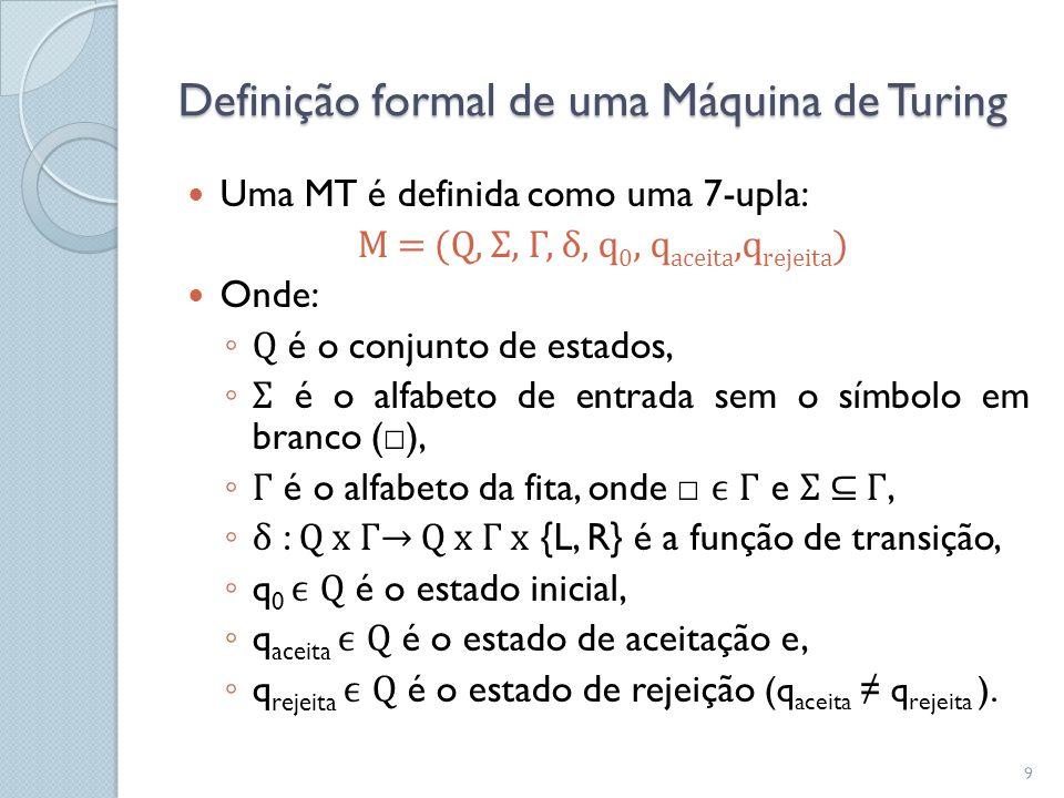 Definição formal de uma Máquina de Turing