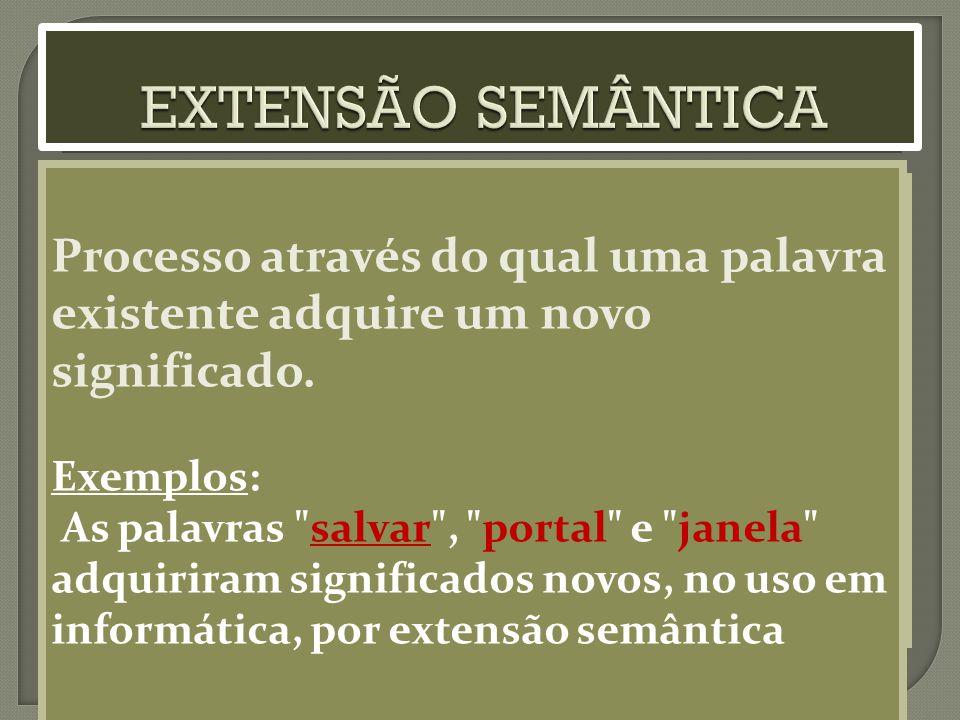 EXTENSÃO SEMÂNTICA Processo através do qual uma palavra existente adquire um novo significado. Exemplos: