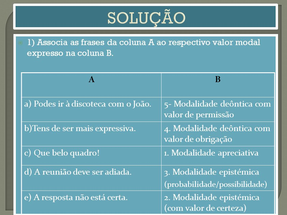 SOLUÇÃO 1) Associa as frases da coluna A ao respectivo valor modal expresso na coluna B. A. B. a) Podes ir à discoteca com o João.