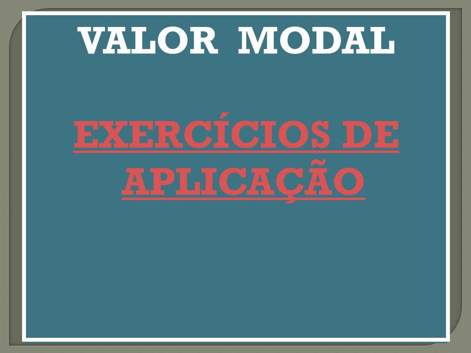 VALOR MODAL EXERCÍCIOS DE APLICAÇÃO VALOR MODAL