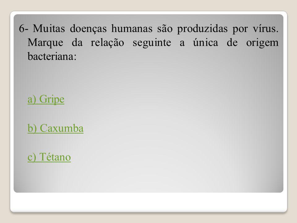 6- Muitas doenças humanas são produzidas por vírus