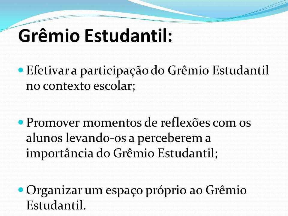 Grêmio Estudantil: Efetivar a participação do Grêmio Estudantil no contexto escolar;