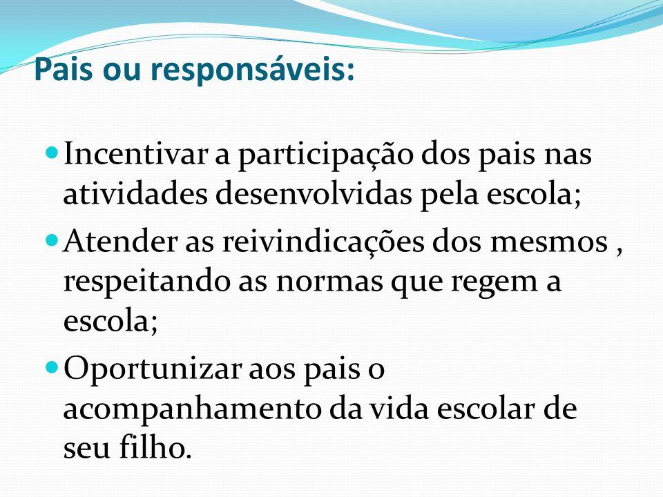 Pais ou responsáveis: Incentivar a participação dos pais nas atividades desenvolvidas pela escola;