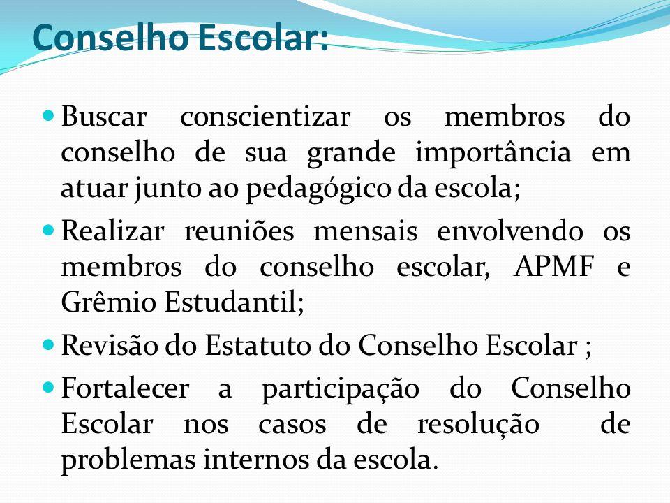 Conselho Escolar: Buscar conscientizar os membros do conselho de sua grande importância em atuar junto ao pedagógico da escola;