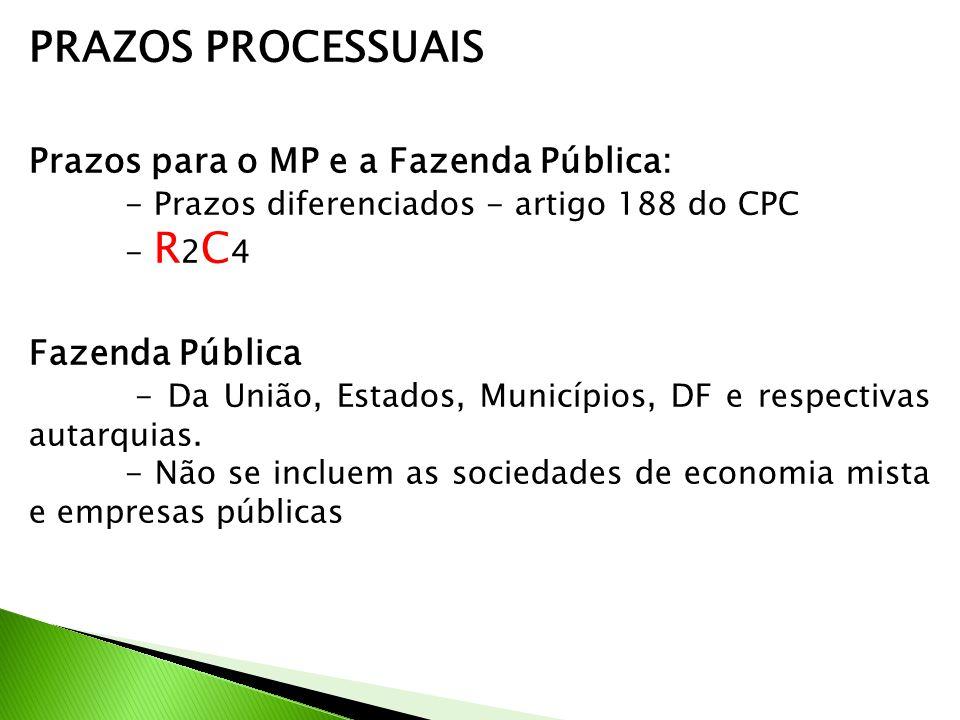 PRAZOS PROCESSUAIS Prazos para o MP e a Fazenda Pública: