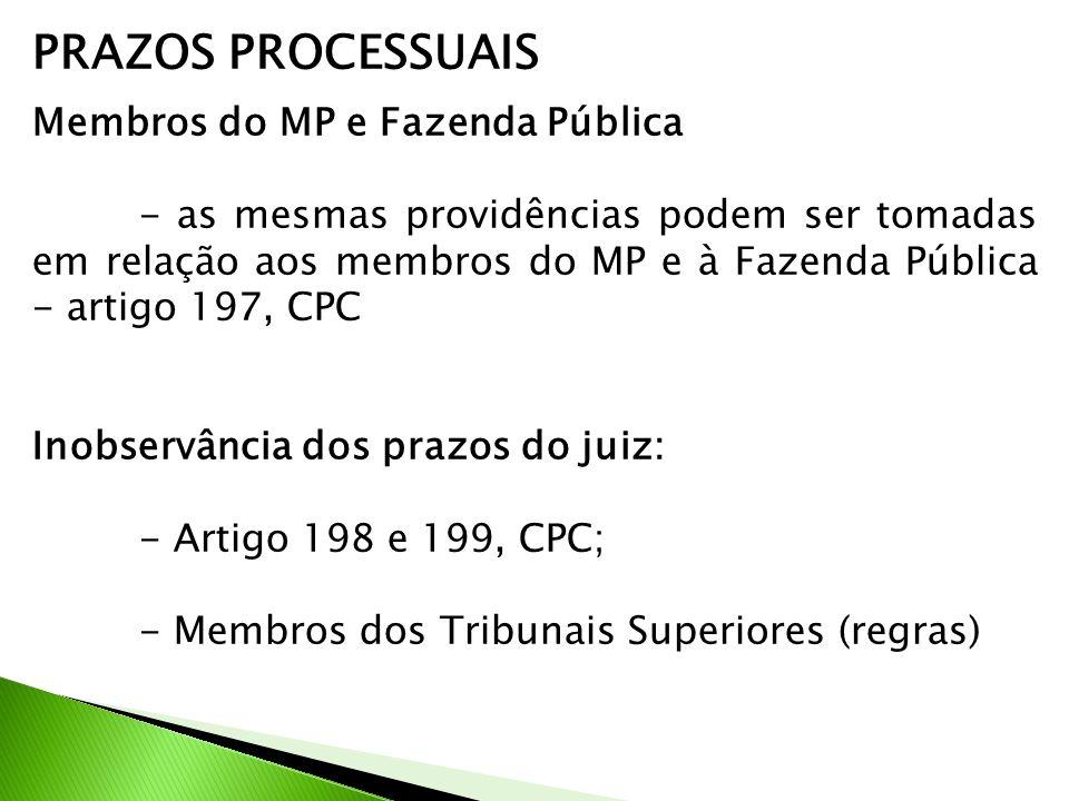PRAZOS PROCESSUAIS Membros do MP e Fazenda Pública