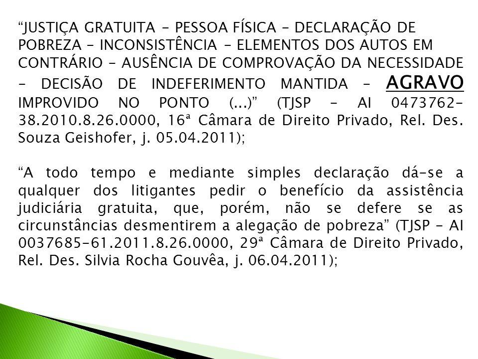 JUSTIÇA GRATUITA - PESSOA FÍSICA - DECLARAÇÃO DE