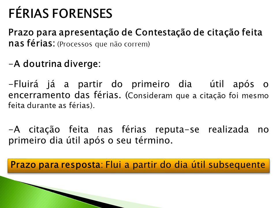 FÉRIAS FORENSES Prazo para apresentação de Contestação de citação feita nas férias: (Processos que não correm)