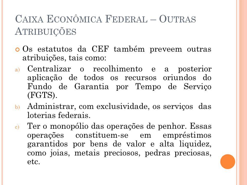 Caixa Econômica Federal – Outras Atribuições