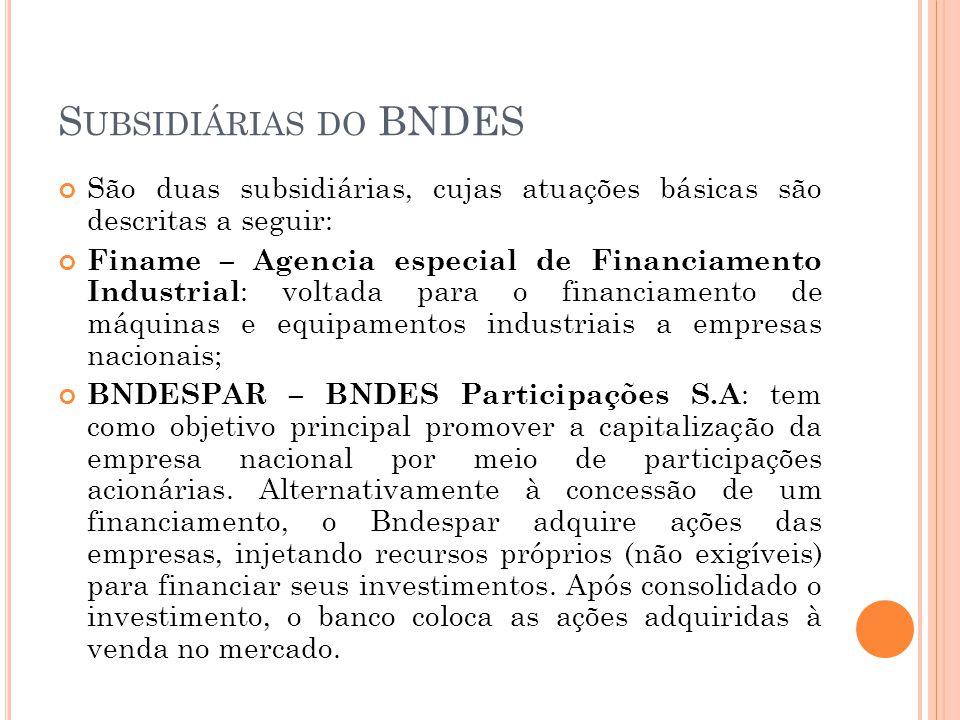 Subsidiárias do BNDES São duas subsidiárias, cujas atuações básicas são descritas a seguir: