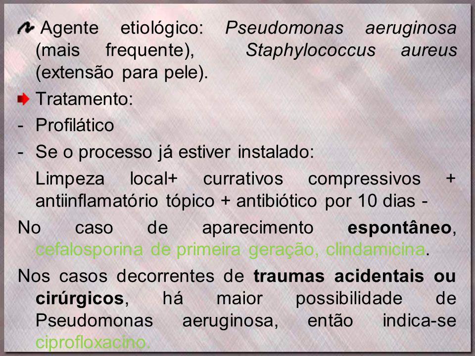 Agente etiológico: Pseudomonas aeruginosa (mais frequente), Staphylococcus aureus (extensão para pele).