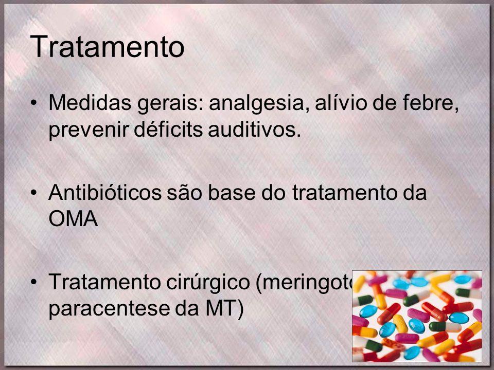 Tratamento Medidas gerais: analgesia, alívio de febre, prevenir déficits auditivos. Antibióticos são base do tratamento da OMA.