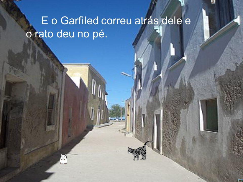 E o Garfiled correu atrás dele e o rato deu no pé.
