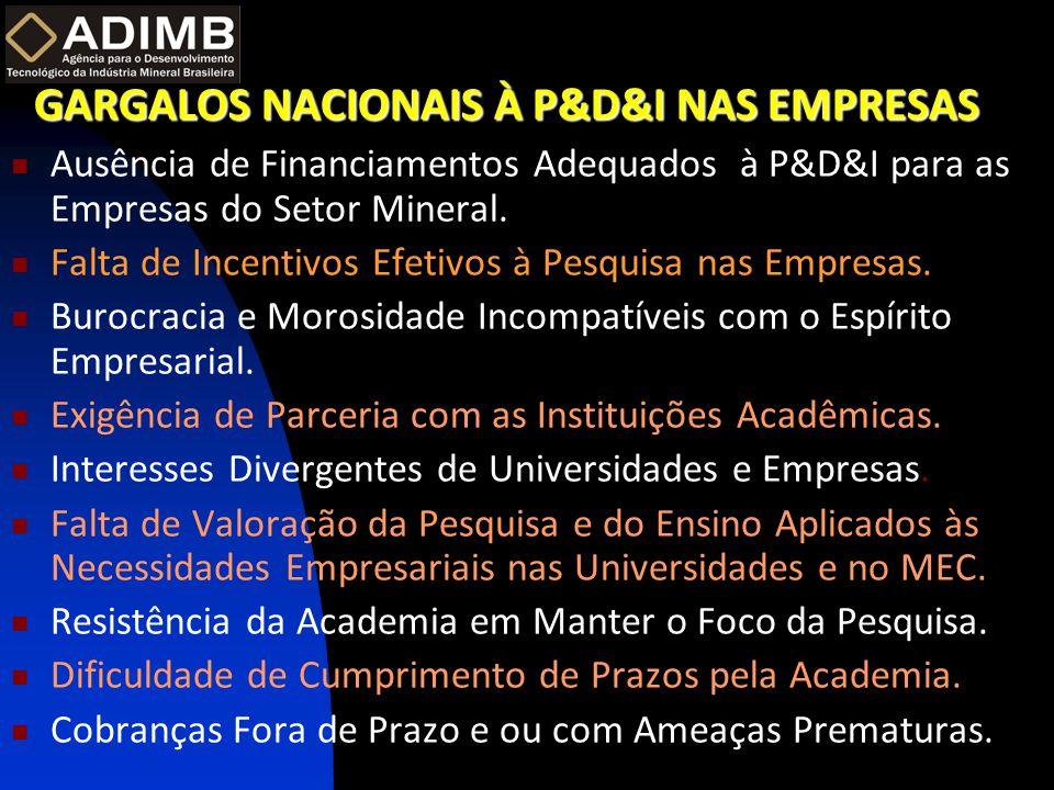 GARGALOS NACIONAIS À P&D&I NAS EMPRESAS