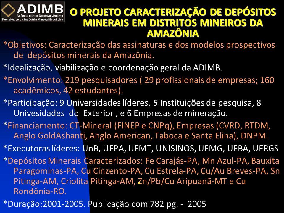 O PROJETO CARACTERIZAÇÃO DE DEPÓSITOS MINERAIS EM DISTRITOS MINEIROS DA AMAZÔNIA