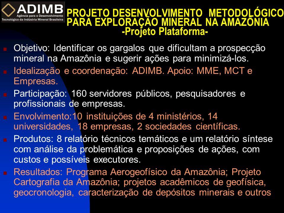 PROJETO DESENVOLVIMENTO METODOLÓGICO PARA EXPLORAÇÃO MINERAL NA AMAZÔNIA -Projeto Plataforma-