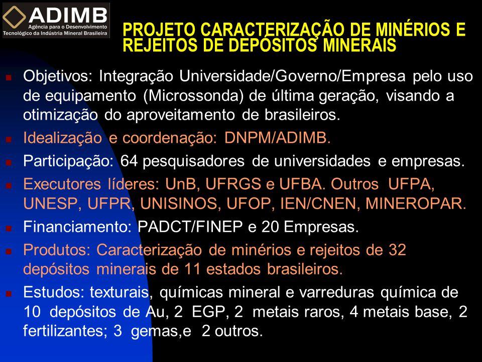 PROJETO CARACTERIZAÇÃO DE MINÉRIOS E REJEITOS DE DEPÓSITOS MINERAIS