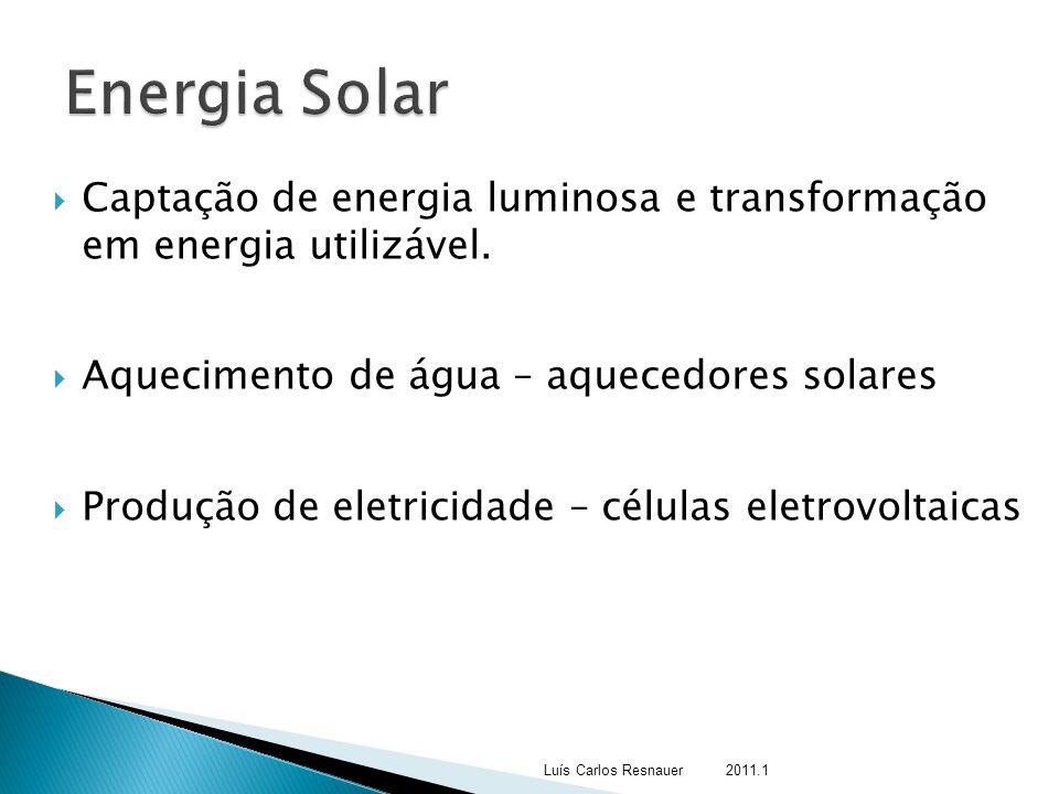 Energia Solar Captação de energia luminosa e transformação em energia utilizável. Aquecimento de água – aquecedores solares.