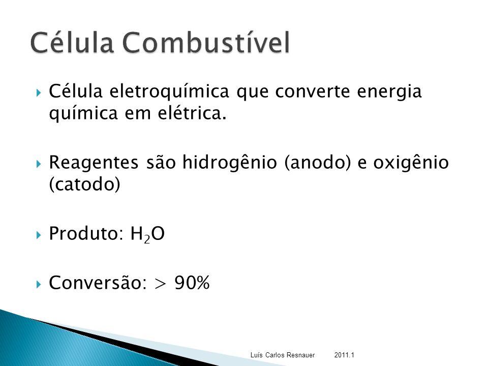 Célula Combustível Célula eletroquímica que converte energia química em elétrica. Reagentes são hidrogênio (anodo) e oxigênio (catodo)