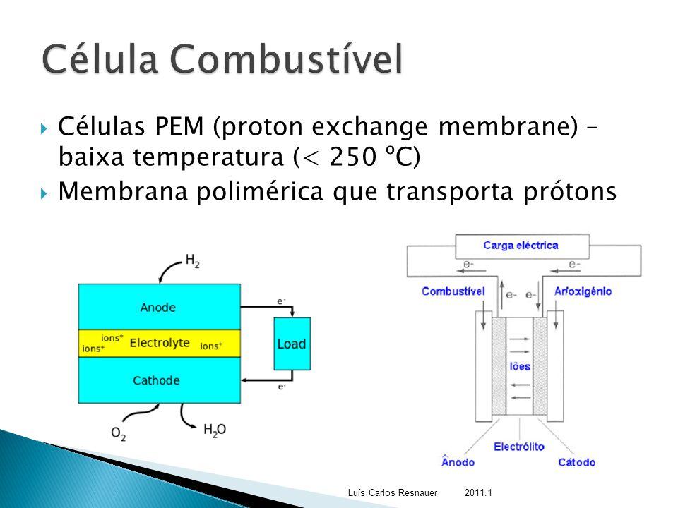 Célula Combustível Células PEM (proton exchange membrane) – baixa temperatura (< 250 ºC) Membrana polimérica que transporta prótons.