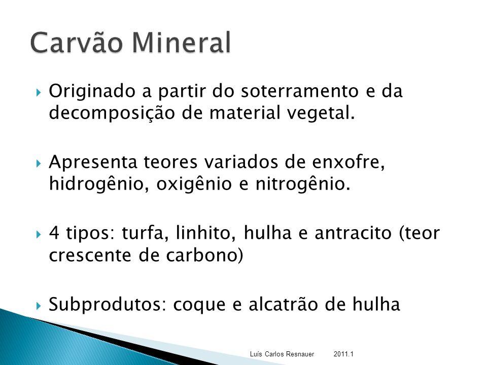Carvão Mineral Originado a partir do soterramento e da decomposição de material vegetal.