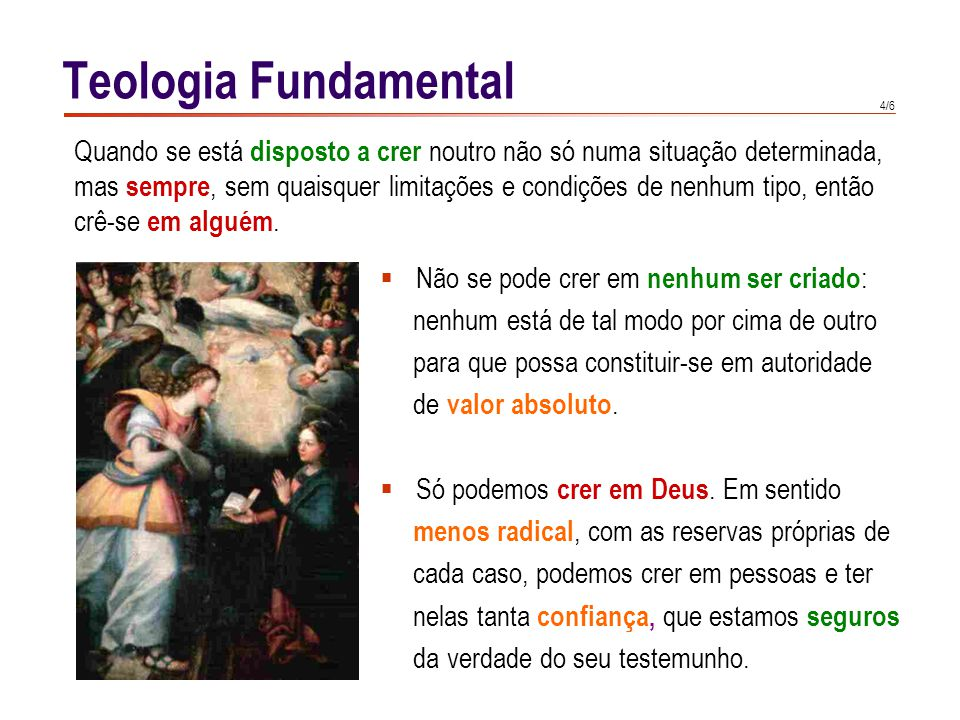 Teologia Fundamental Também no âmbito sobrenatural