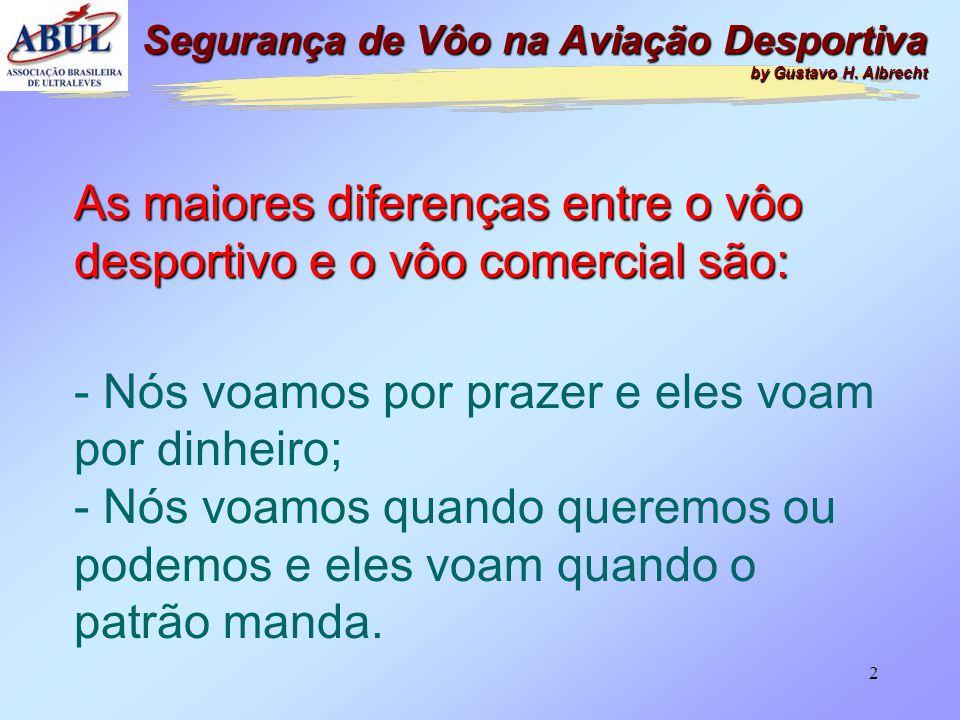 As maiores diferenças entre o vôo desportivo e o vôo comercial são: