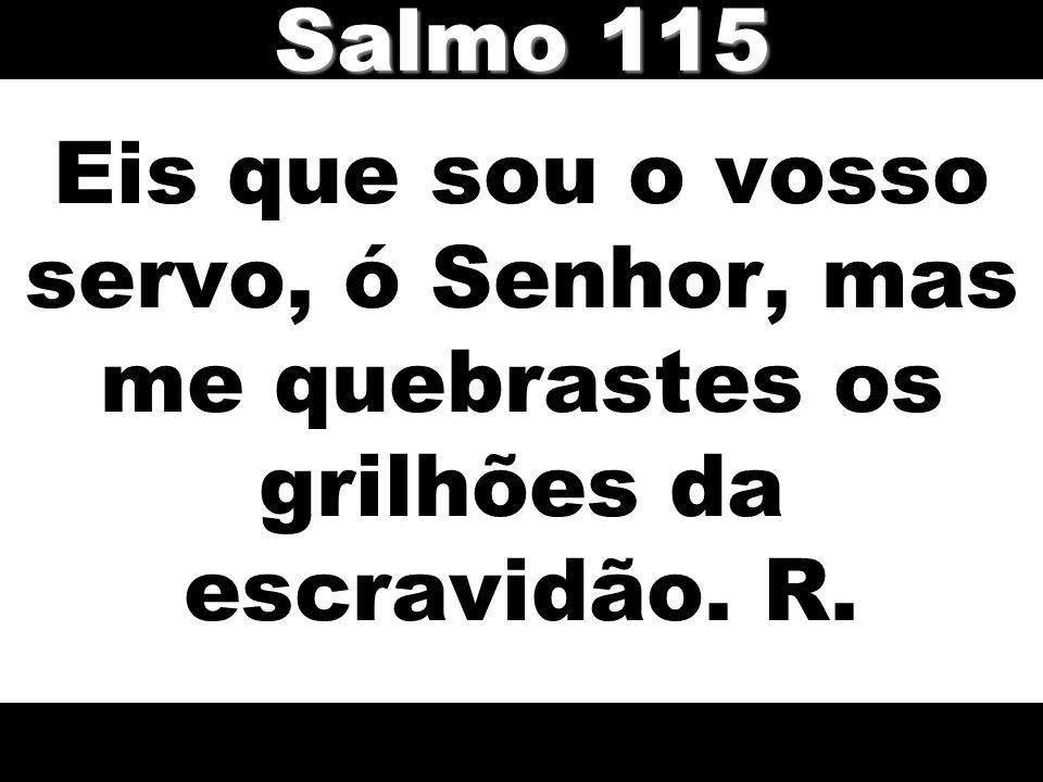 Salmo 115 Eis que sou o vosso servo, ó Senhor, mas me quebrastes os grilhões da escravidão. R.