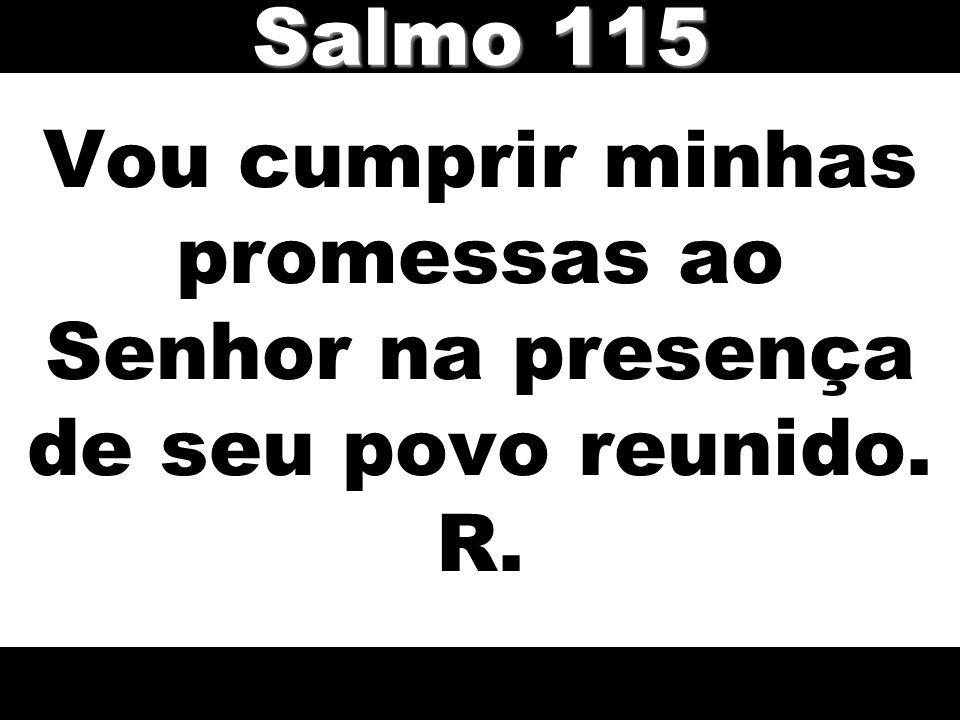 Salmo 115 Vou cumprir minhas promessas ao Senhor na presença de seu povo reunido. R.
