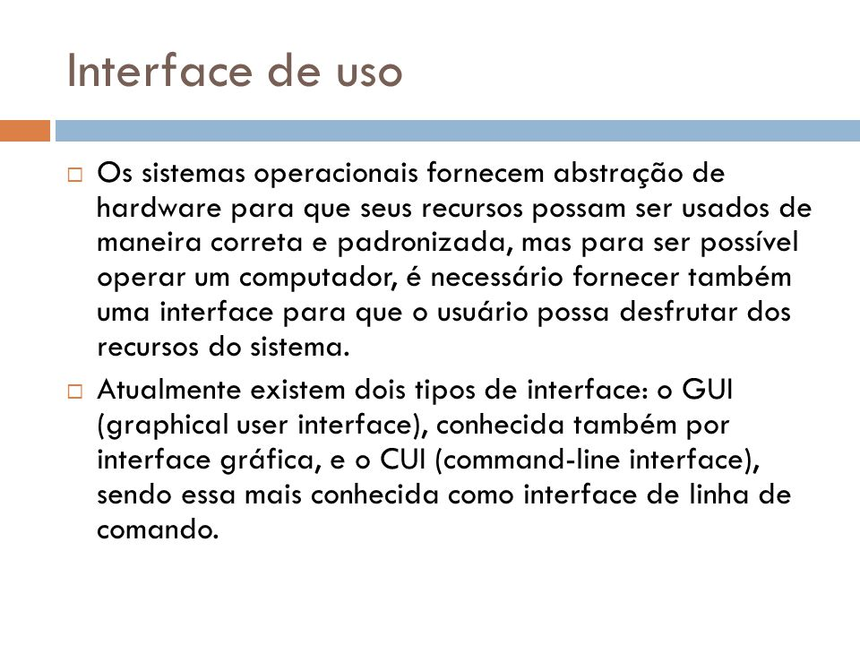 Interface de uso