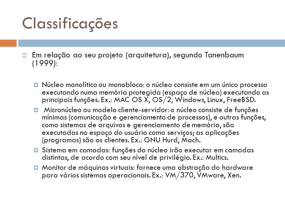 Classificações Em relação ao seu projeto (arquitetura), segundo Tanenbaum (1999):