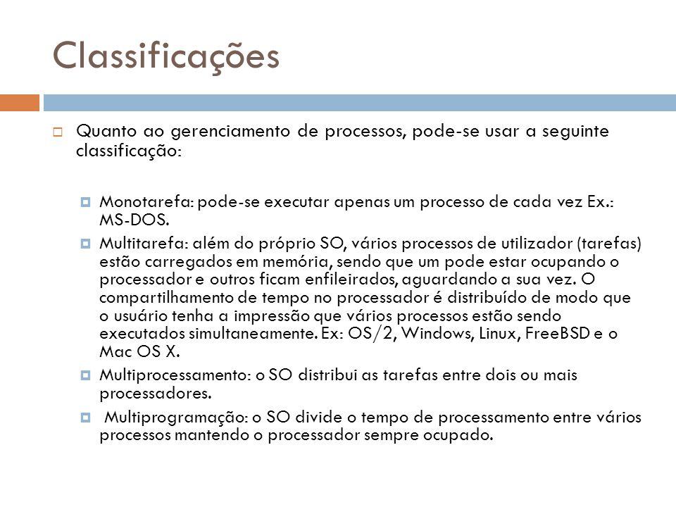 Classificações Quanto ao gerenciamento de processos, pode-se usar a seguinte classificação: