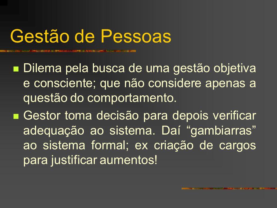 Gestão de Pessoas Dilema pela busca de uma gestão objetiva e consciente; que não considere apenas a questão do comportamento.
