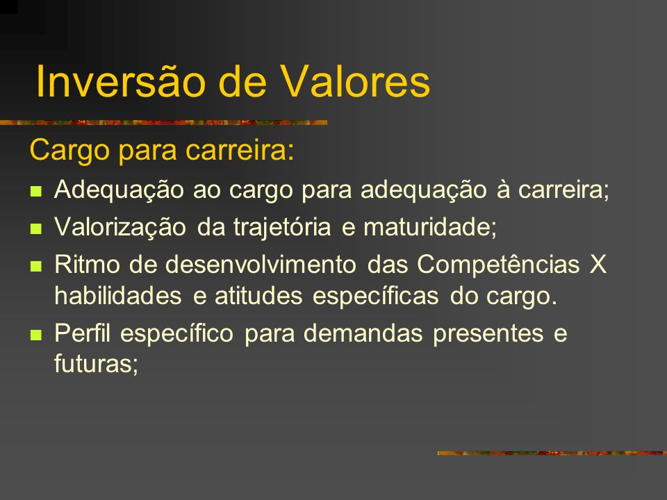 Inversão de Valores Cargo para carreira: