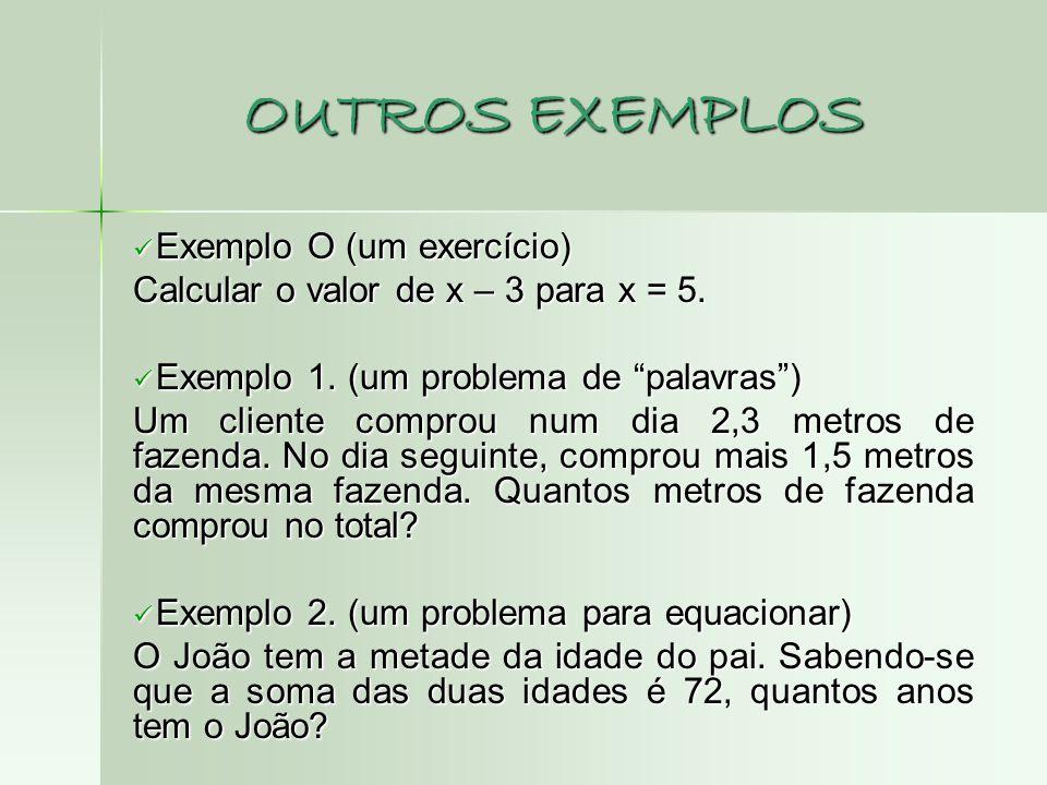 OUTROS EXEMPLOS Exemplo O (um exercício)