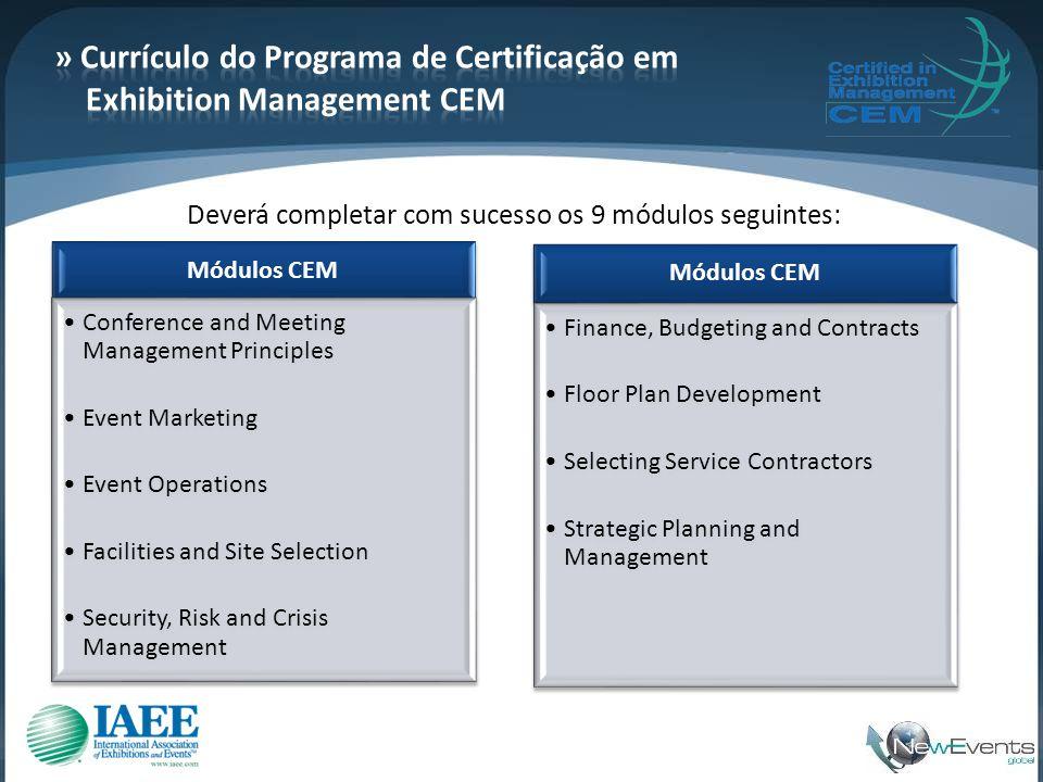 » Currículo do Programa de Certificação em Exhibition Management CEM