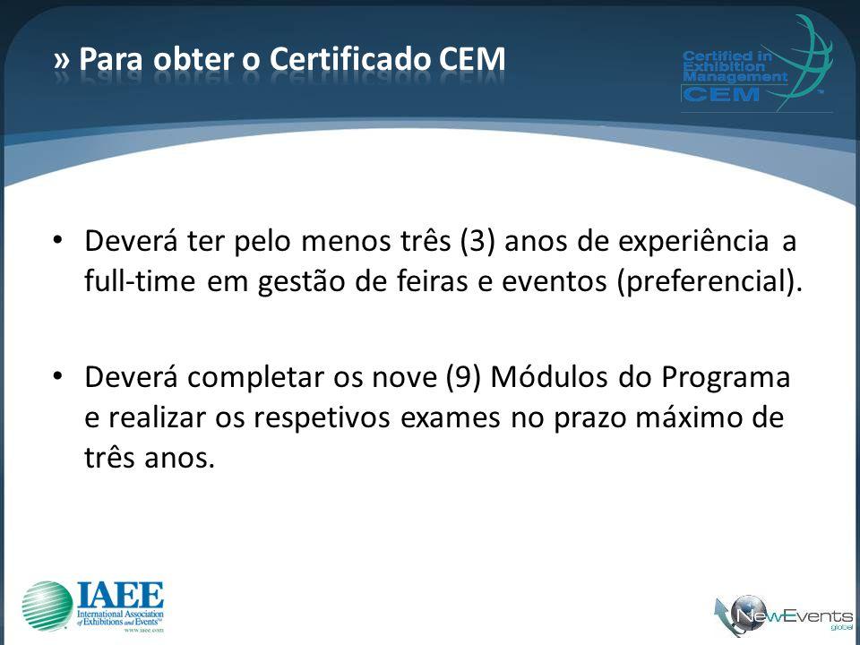 » Para obter o Certificado CEM
