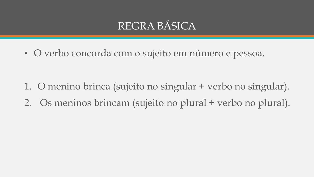REGRA BÁSICA O verbo concorda com o sujeito em número e pessoa.