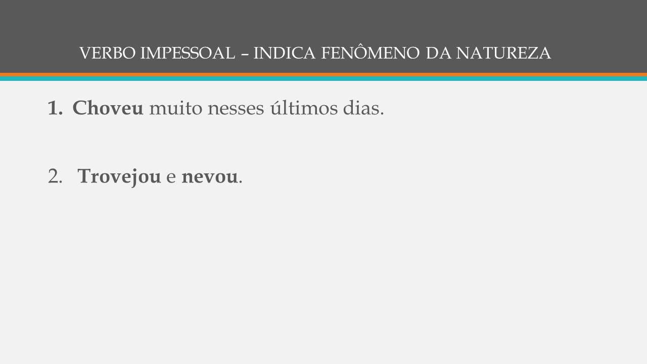 VERBO IMPESSOAL – INDICA FENÔMENO DA NATUREZA