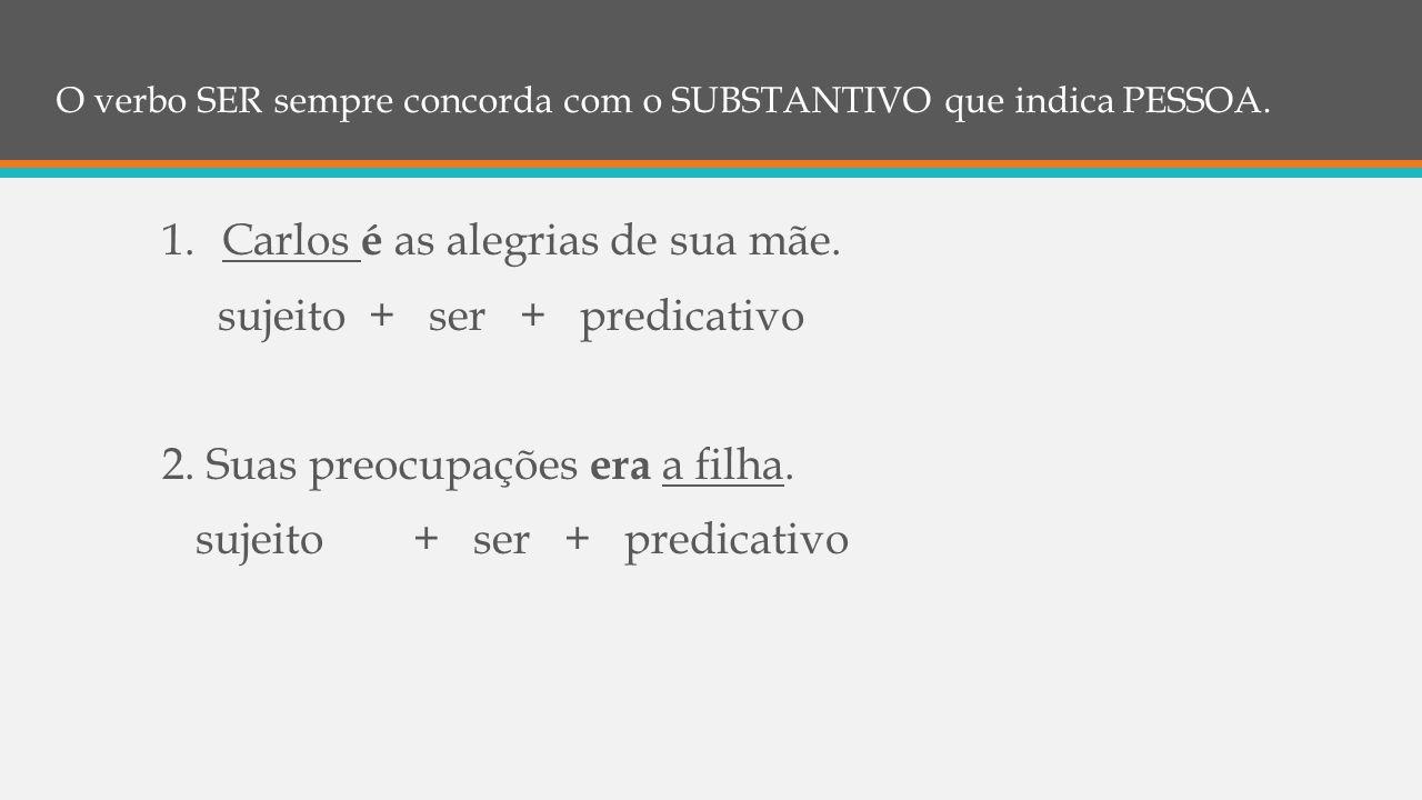 O verbo SER sempre concorda com o SUBSTANTIVO que indica PESSOA.