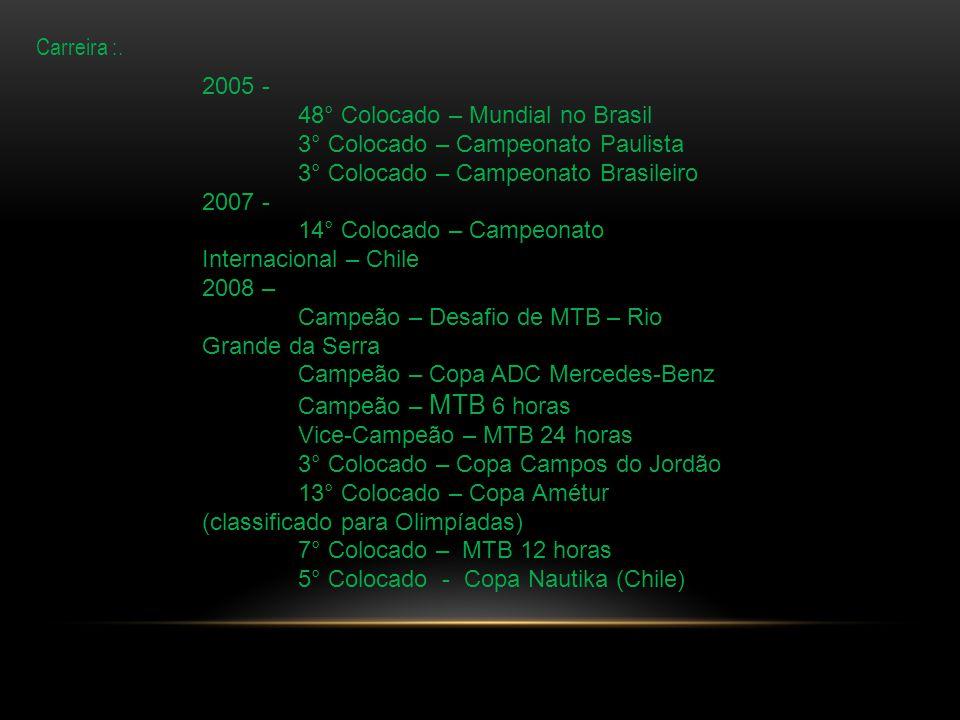 Carreira :. 2005 - 48° Colocado – Mundial no Brasil. 3° Colocado – Campeonato Paulista. 3° Colocado – Campeonato Brasileiro.