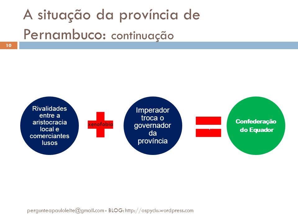 A situação da província de Pernambuco: continuação