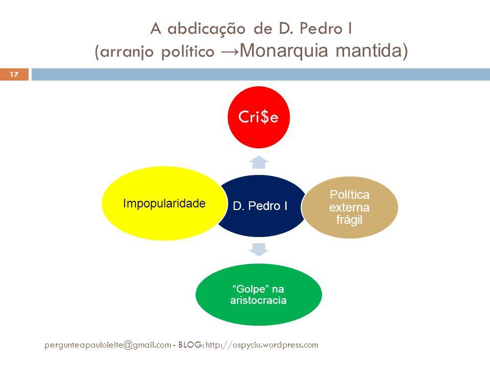 A abdicação de D. Pedro I (arranjo político →Monarquia mantida)