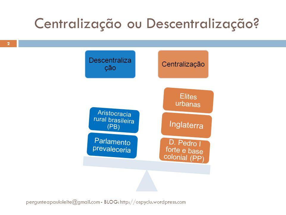 Centralização ou Descentralização