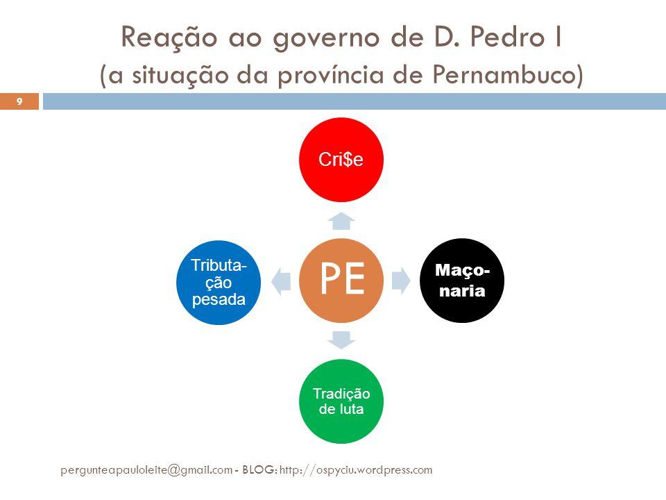 Reação ao governo de D. Pedro I (a situação da província de Pernambuco)