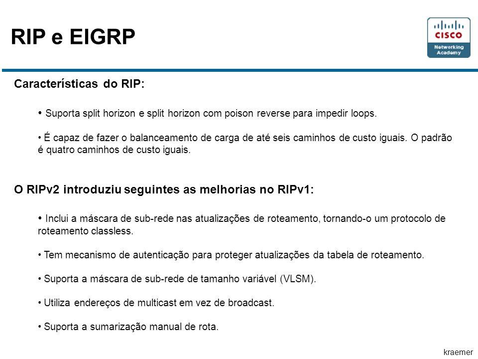 RIP e EIGRP Características do RIP: