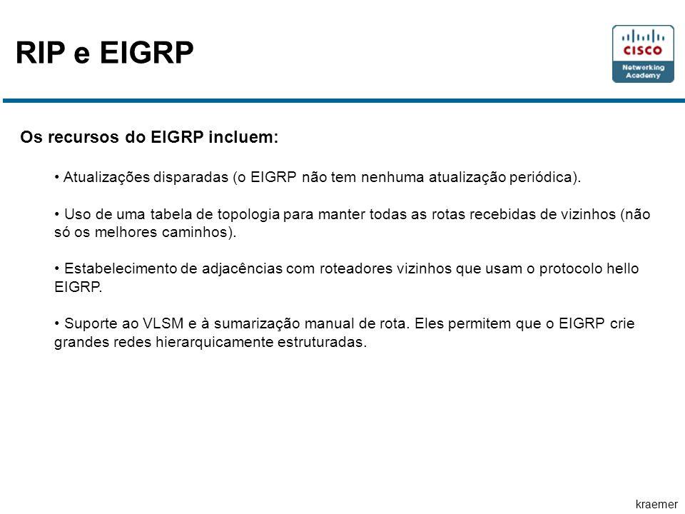 RIP e EIGRP Os recursos do EIGRP incluem:
