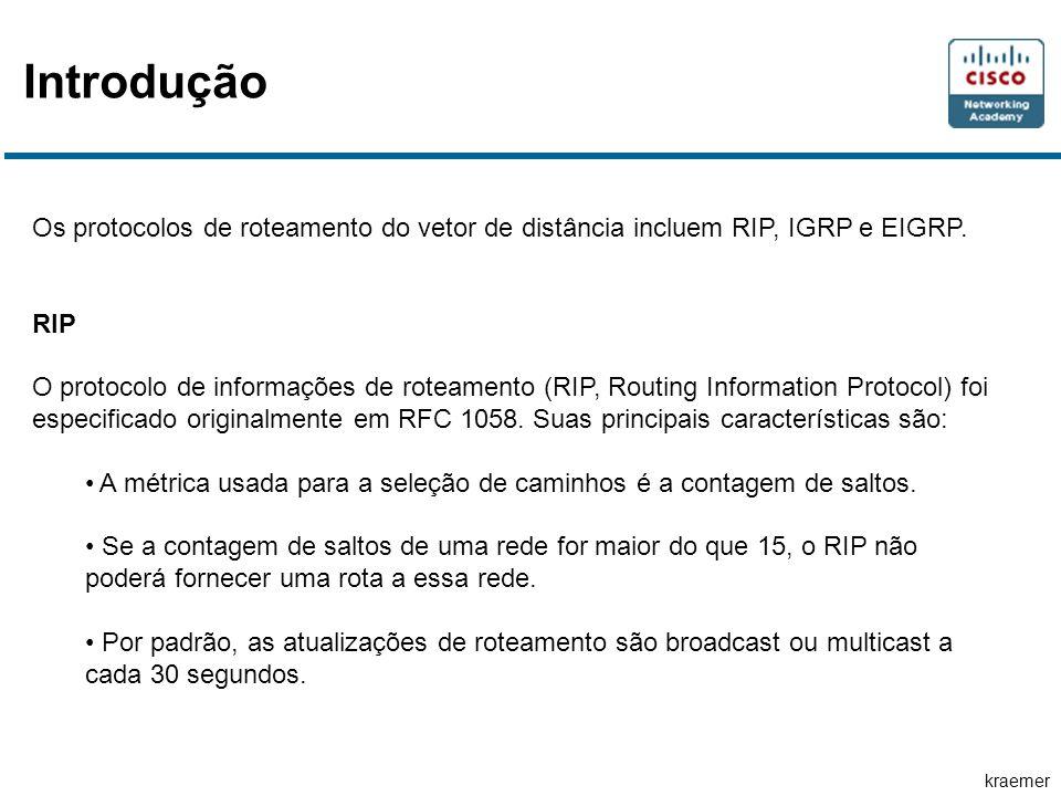 Introdução Os protocolos de roteamento do vetor de distância incluem RIP, IGRP e EIGRP. RIP.